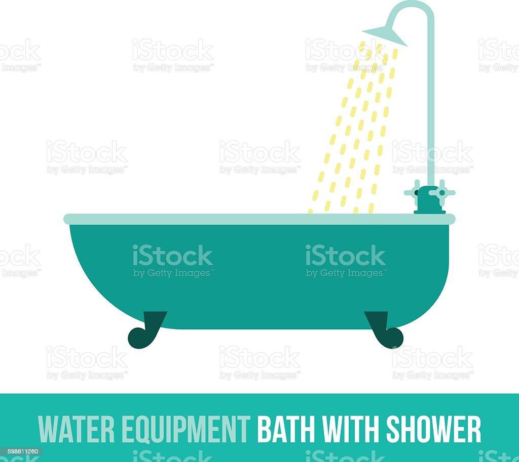 vector flat icon bath with shower - ilustração de arte em vetor