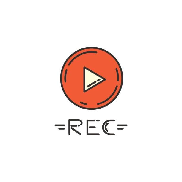 Vektor flache Ikone der Record-Taste. – Vektorgrafik