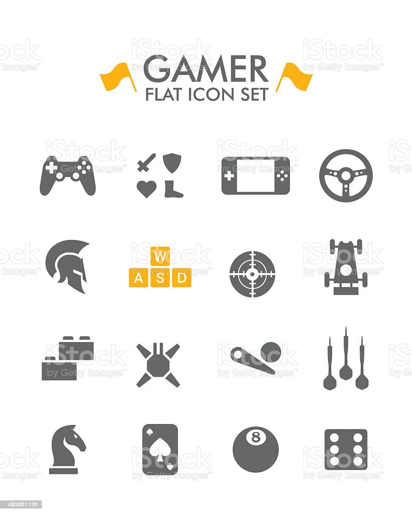 Vector Flat Icon Set - Gamer vector art illustration
