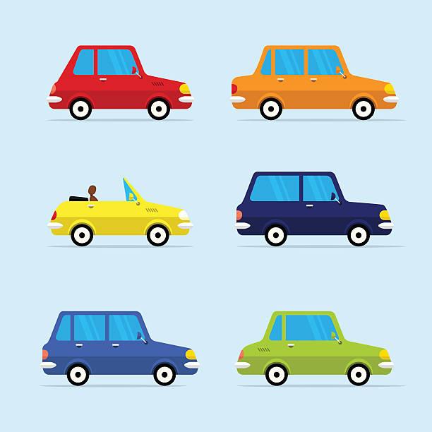 vektor-flache icon-set von modernen fahrzeuge - cabrio stock-grafiken, -clipart, -cartoons und -symbole
