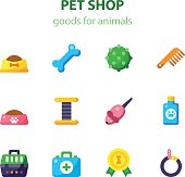 Vector Flat Icon Set of Pet Shop