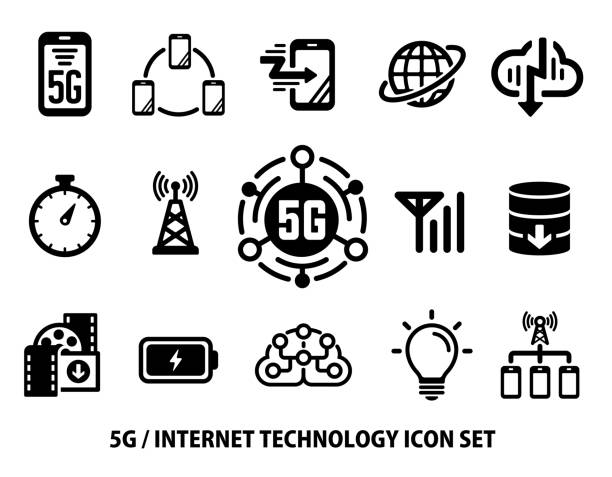 5G (Next-generation high-speed communication) vector flat icon set vector art illustration