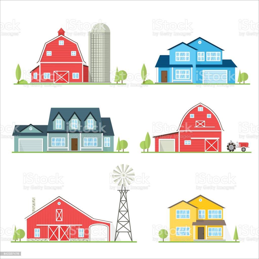 Vector flat icon suburban american house vector art illustration