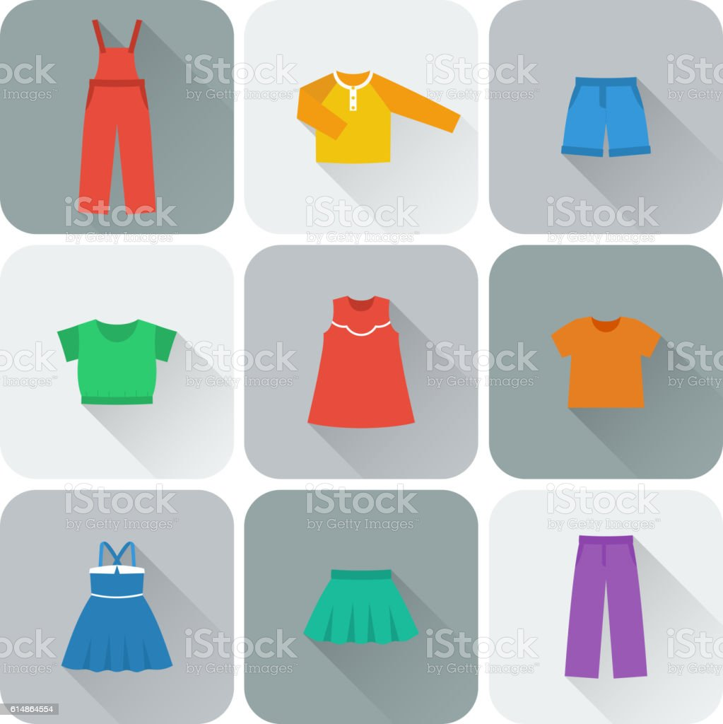 Vector flat icons of clothes for girls. vector art illustration