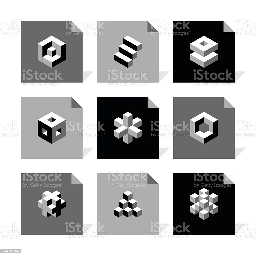 Vector Flat Icons Set - Cube Icons vector art illustration
