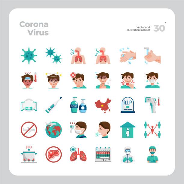 ilustraciones, imágenes clip art, dibujos animados e iconos de stock de vector flat icons set de coronavirus o covid-19 - covid 19 vaccine