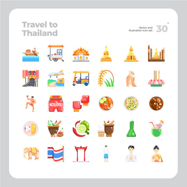 illustrazioni stock, clip art, cartoni animati e icone di tendenza di vector flat icons set of travel to thailand - box name