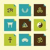 Vector Flat Icons Set - Spiritual Symbols