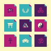 Vector Flat Icons Set - Spiritual Symbols (with Hindu Om Symbol)