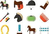 Vector flat icons. Symbols of equestrian sport. Equestrian sport, animal horse race, barrier and jockey illustration