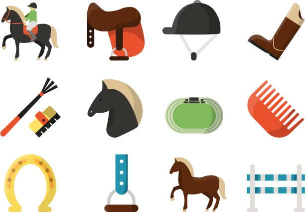 vektör düz simgeler. atlı spor sembolleri - horse racing stock illustrations