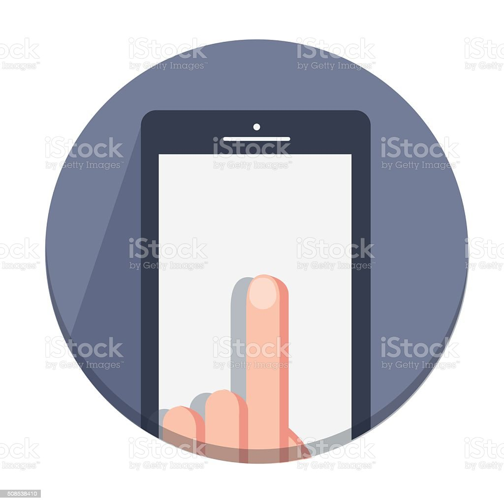 vector flat  icons with finger  mobile device with gestures