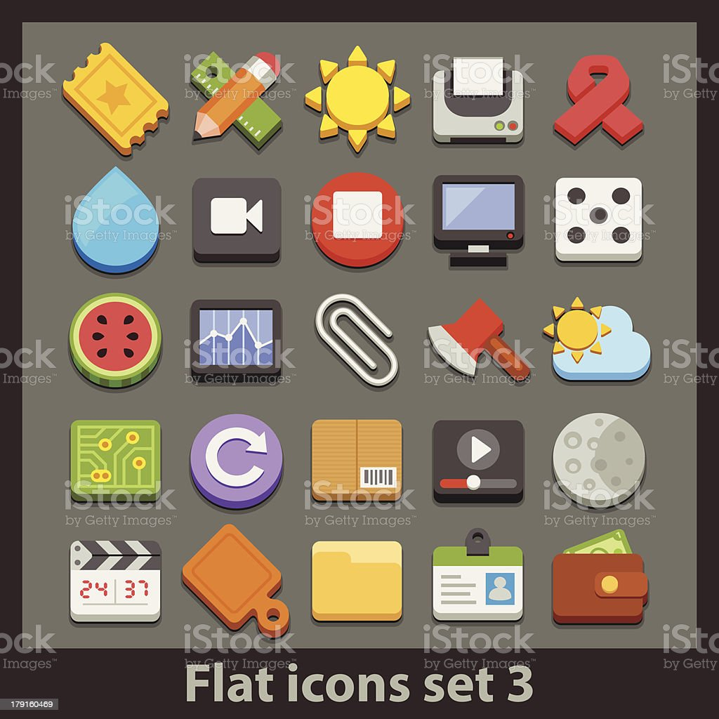 vector flat icon-set 3 royalty-free stock vector art