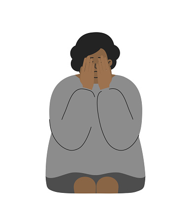 Vector flat illustration. African American woman closes her face by hands. Lady is crying. She has problem to keep mental health and bad feeling