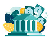 istock Vector flat illustration, bank building on a white background, bank financing, money exchange, financial services, ATM, giving out money 1253077368