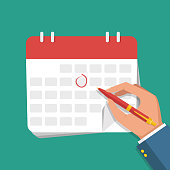 Businessman hand with pen marks on the calendar. Vector flat illustration