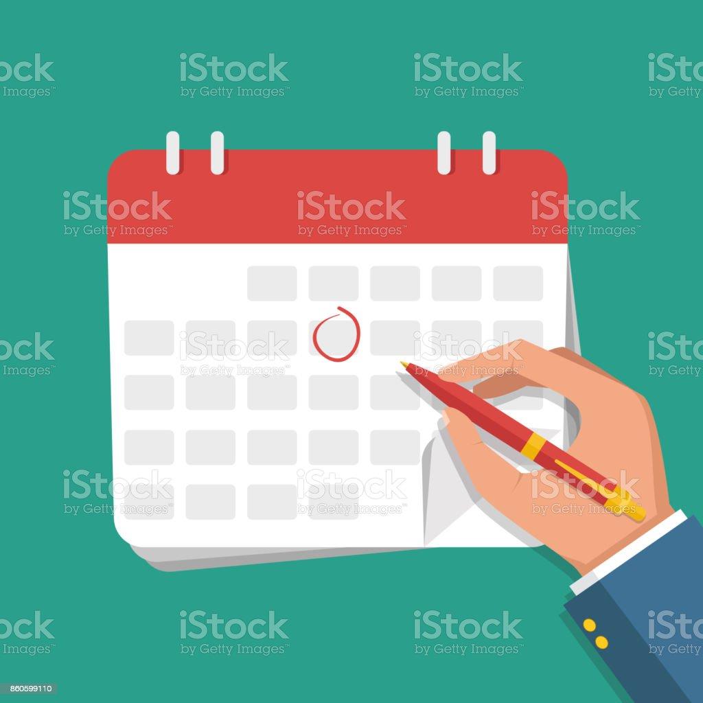 Illustration de plat vectorielle. Main d'homme d'affaires avec les marques de stylo sur le calendrier. - Illustration vectorielle