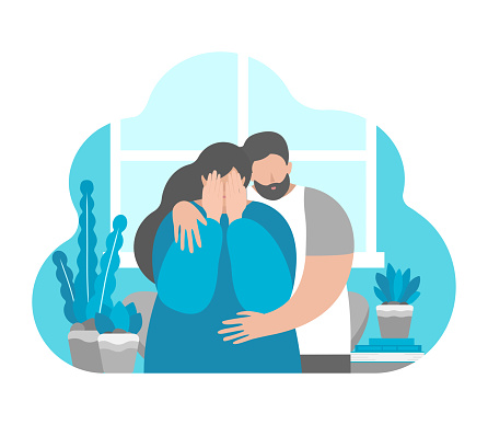 Vector flat illustration concept about mental health in family, importance to support partner in depression and stress. Mood swings of pregnant girls. Husband hugs crying and upset wife