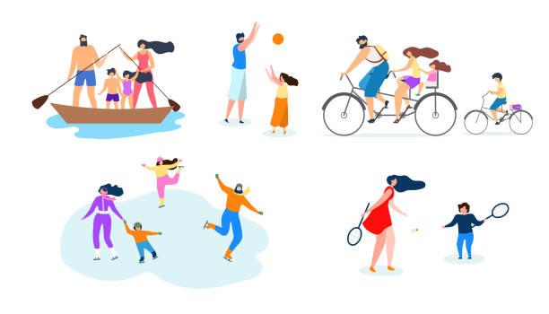 vektör düz illustration aile aktif lifestyle. - mountain top stock illustrations