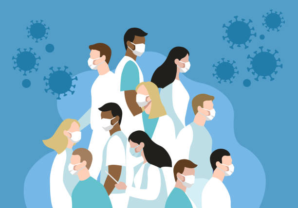 illustrations, cliparts, dessins animés et icônes de groupe d'illustration plat de vecteur des médecins et des infirmières luttant contre le virus dangereux ensemble sur le fond bleu - medecin covid