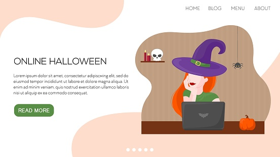 Vector flat illustration landing page or template online woman witch with glass of wine. Halloween concept.