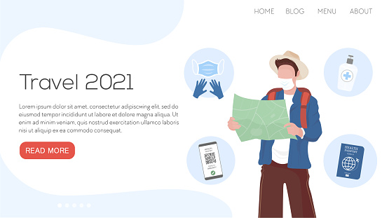 Vector flat illustration landing page or template travel set 2021. Man with map, glovers, passport, sanitizer, mask, healthy passport. Corona reality traveling.