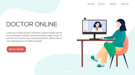 Vector flat illustration landing page or template woman online takes a consultation from a doctor. Quarantine 2021.