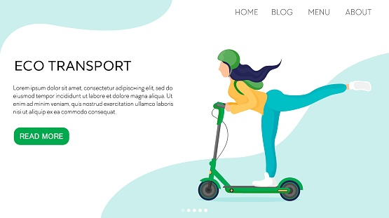 Vector flat illustration landing page or template woman rides with long hair and with raised leg, helmet on electronic scooter. Concept girl silhouette enjoys eco-friendly sport.