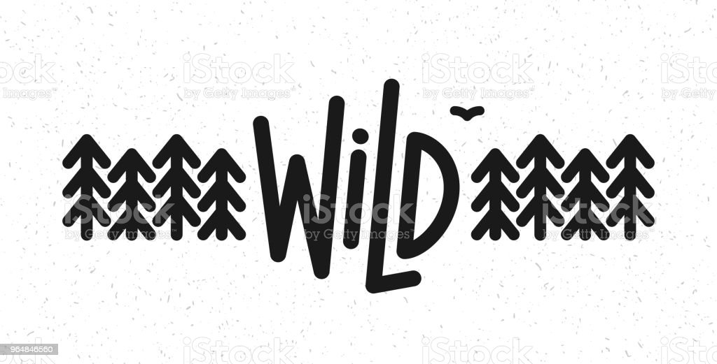 Vector flat illustration: Line typography lettering of Wild pine forest and bird. royalty-free vector flat illustration line typography lettering of wild pine forest and bird stock vector art & more images of animal wildlife