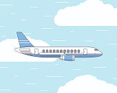 Vector flat illustration of a plane in the sky and