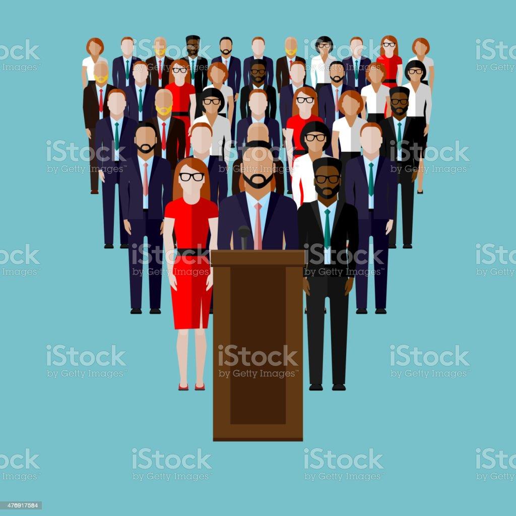 vector flat  illustration of a speaker and team vector art illustration