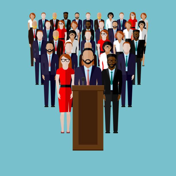 ilustrações, clipart, desenhos animados e ícones de ilustração do vetor plana e uma equipe de alto-falantes - político