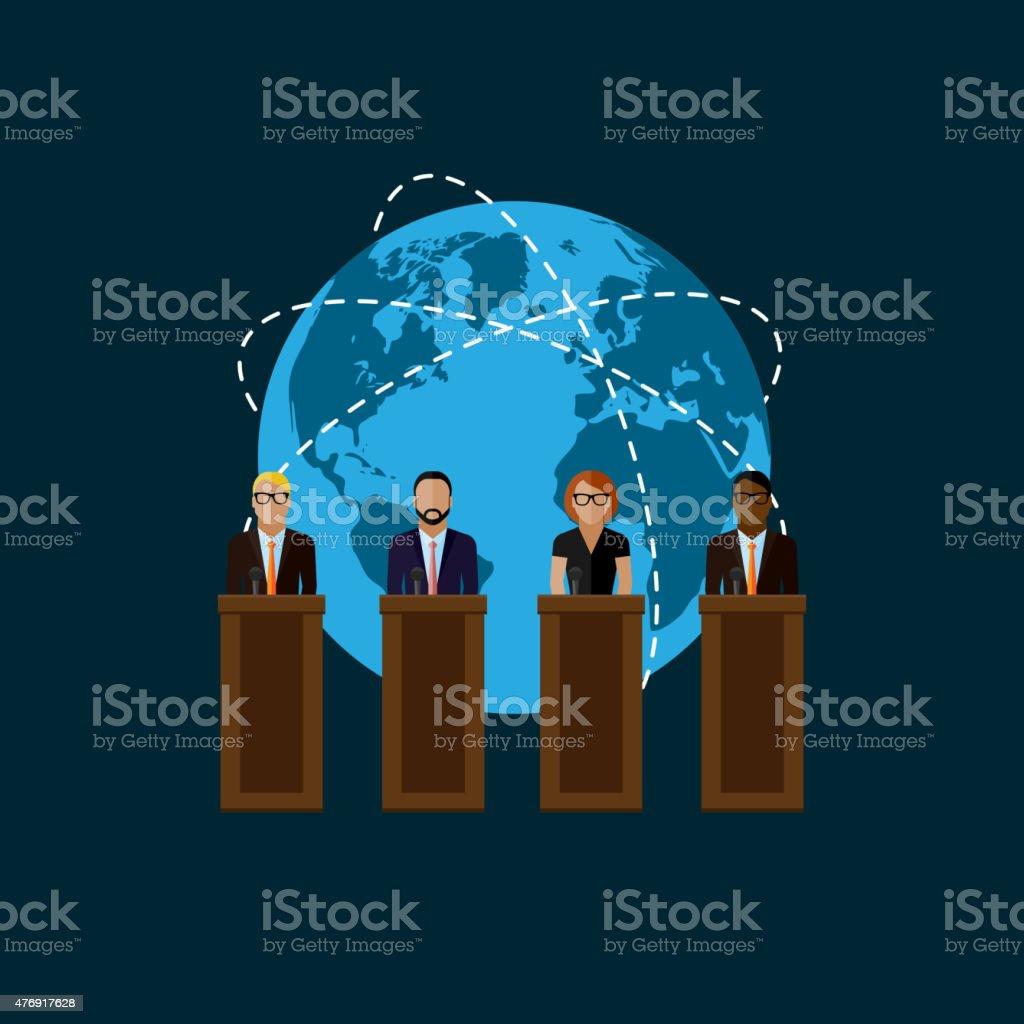 vector flat  illustration of a speakers and globe symbol. politicians. vector art illustration
