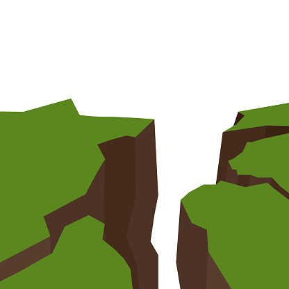 Vector flat illustration of an earthquake. Splits and cracks. Faults in the ground. Natural disaster. Modern cataclysm. Ravine and rocks on white background.