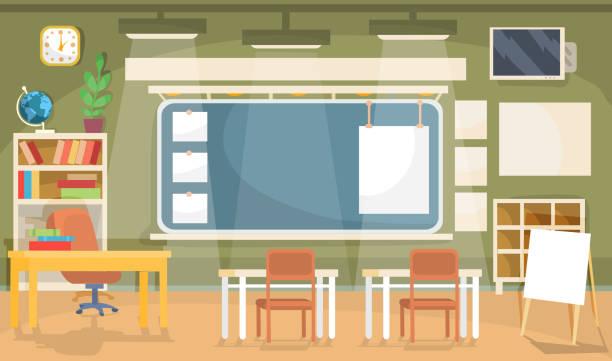 Best Empty Classroom Illustrations Royalty Free Vector