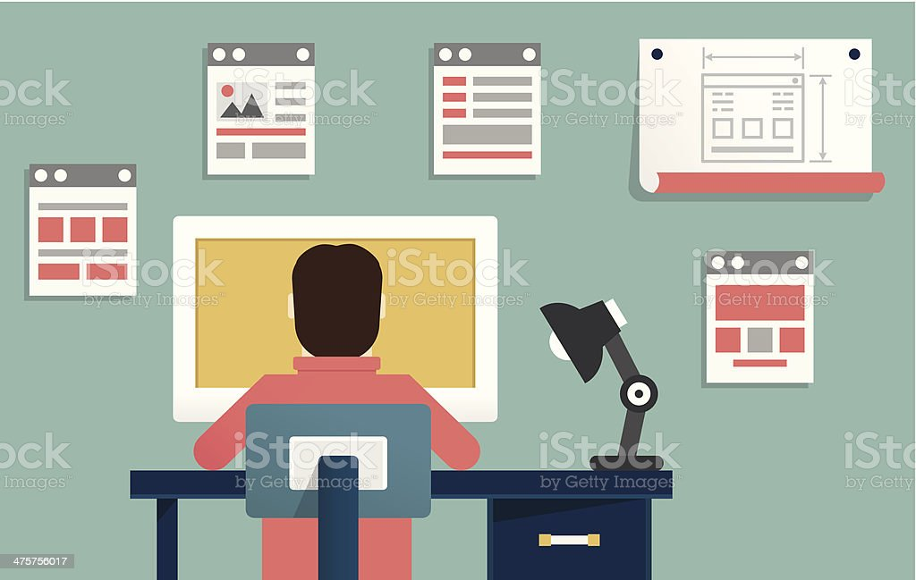 Vector flat illustration of application or website development vector art illustration