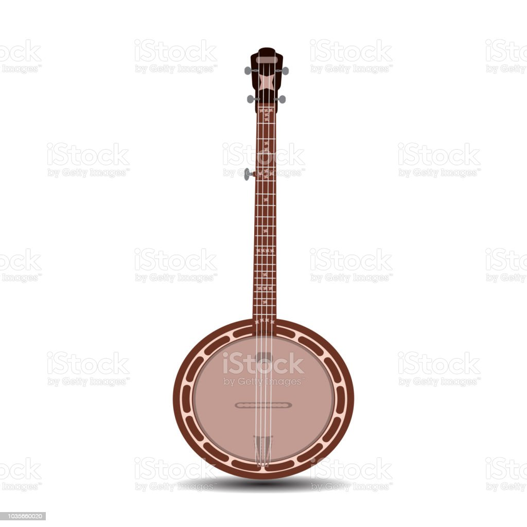 Vector flat illustration of banjo, musical instrument vector art illustration