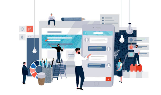 vector flat illustration of business concept web page, small people working on creating website and mobile application, workflow vector art illustration
