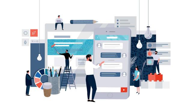 stockillustraties, clipart, cartoons en iconen met vector platte illustratie van business concept web pagina, kleine mensen die werken aan het creëren van website en mobiele applicatie, workflow - schepping