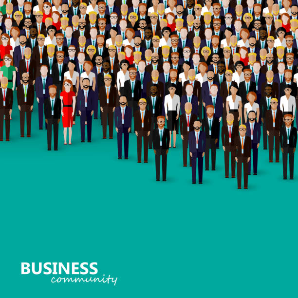 vector flat illustration of business or politics community - business people stock illustrations, clip art, cartoons, & icons