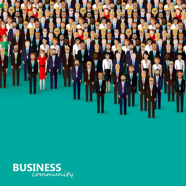 ilustraciones, imágenes clip art, dibujos animados e iconos de stock de vector plano ilustración de negocios o de la política comunitaria - gente de negocios