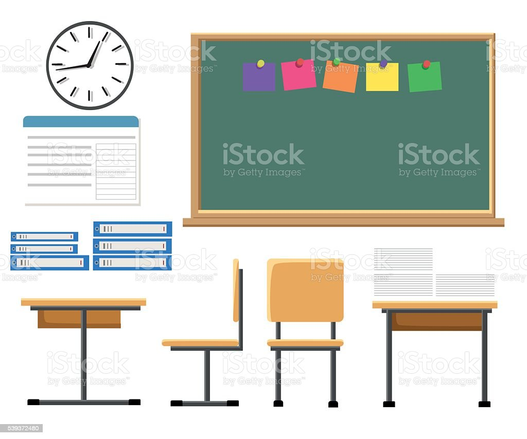 classroom table vector. blackboard, chair, desk, domestic room, fish. vector flat illustration of classroom table f
