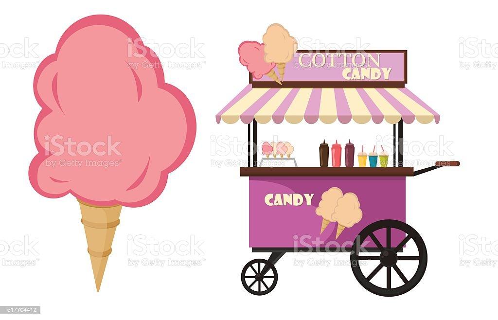 Vector flat illustration of Cotton Candy cart sweet sugar food vector art illustration