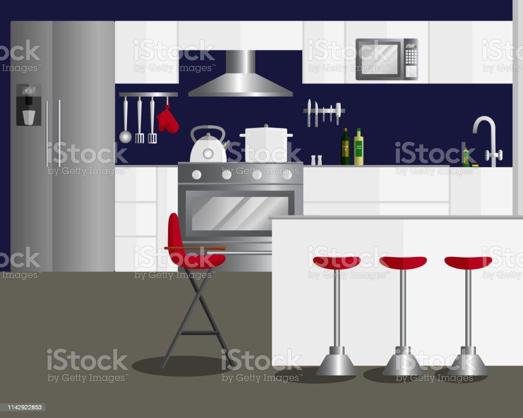 Vector Flat Illustration of Design for Kitchen. Modern Kitchen...