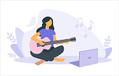 Vector flat illustration of girl e-learning to play the guitar with a laptop at home. Concept of learning music at home. Home daily activities. Hobby. Template for website, landing page
