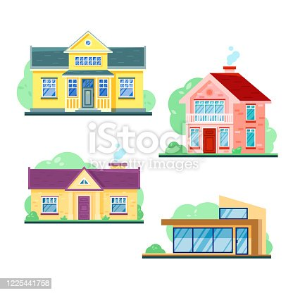 Vector flat illustration of houses exterior front view with roof, trees isolated on white background. Cute graphic private houses. Country cottage design.