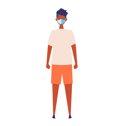 Vector flat illustration of man wearing a surgical mask.