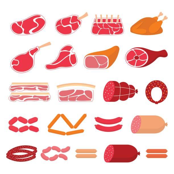 flache vektor-illustration von fleischerzeugnissen - schweinebauch stock-grafiken, -clipart, -cartoons und -symbole