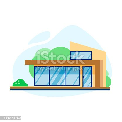 Vector flat illustration of modern house exterior front view with roof, trees, window isolated on white background. Cute graphic private house. Modern cottage house exterior, villa building