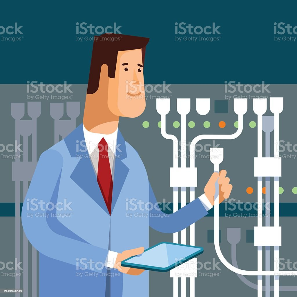 Vector flat illustration of network engineer administrator working vector art illustration